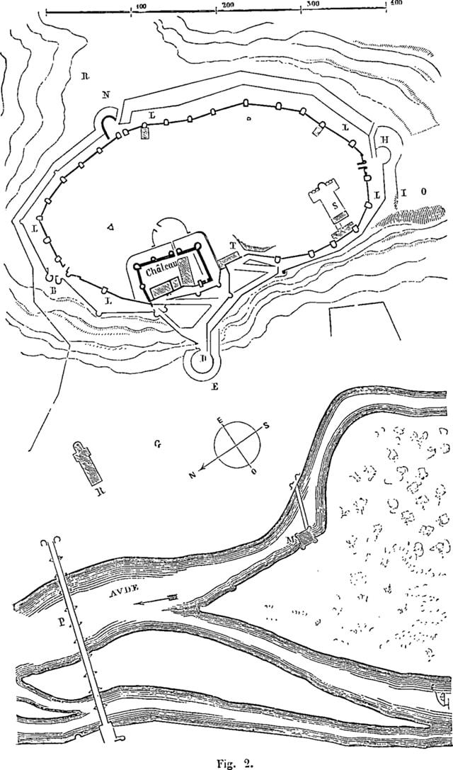 Croquis topográfico - Ciudad de Carcasona - Orígenes de Europa