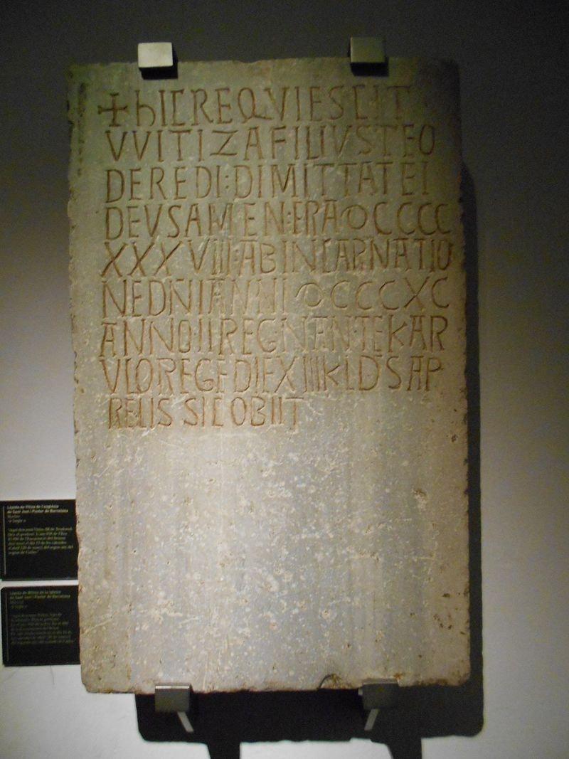 Lápida de Witiza, museo de historia de Barcelona - Orígenes de Europa