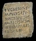 Inscripción de lapida sepulcral UGNERICUS con fecha 8 de abril de 615 M - Orígenes de Europa